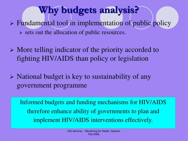 Why budgets analysis?