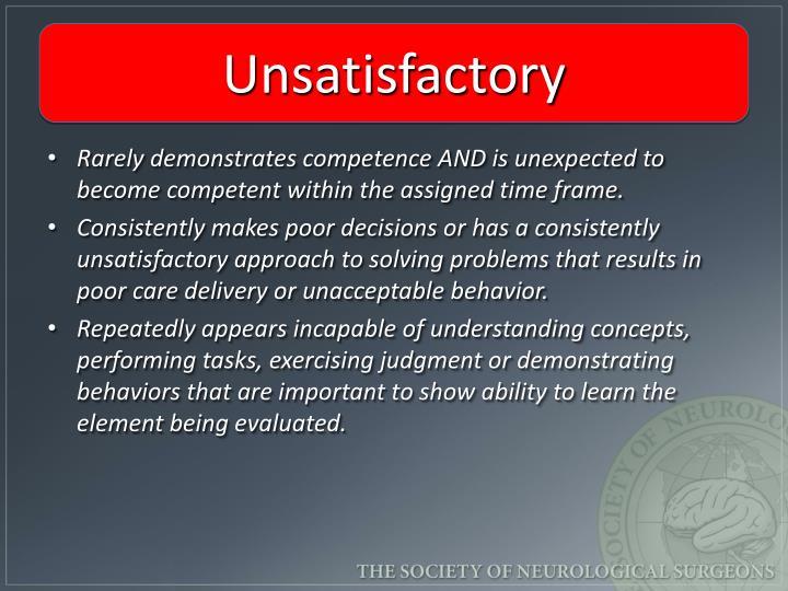 Unsatisfactory