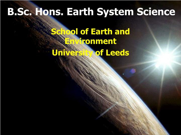 B sc hons earth system science