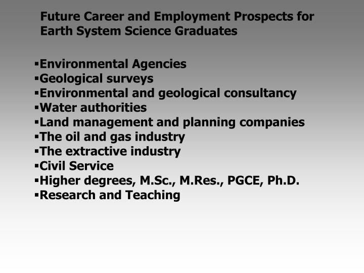 Future Career and Employment Prospects for