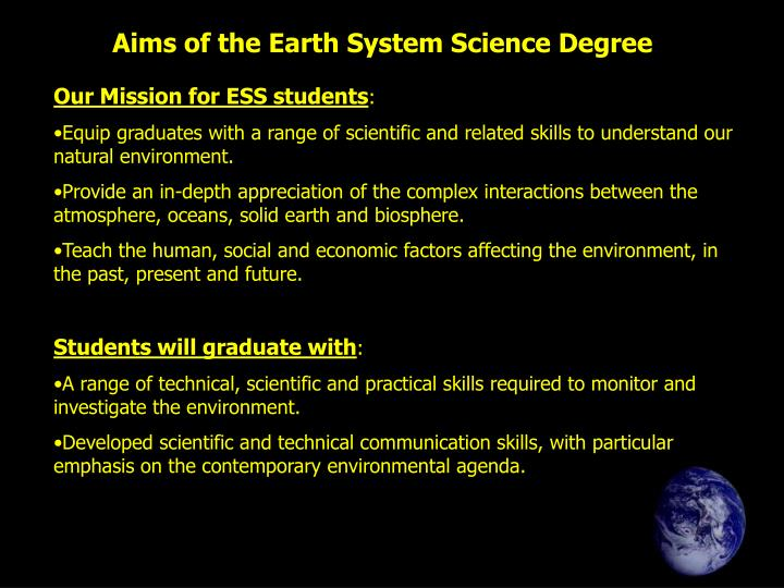 Aims of the Earth System Science Degree