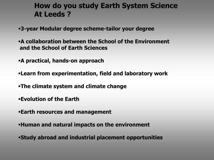 How do you study Earth System Science