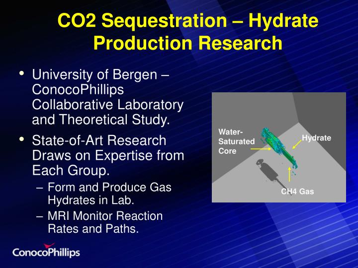 CO2 Sequestration – Hydrate Production Research