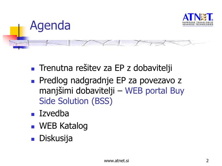 Trenutna rešitev za EP z dobavitelji