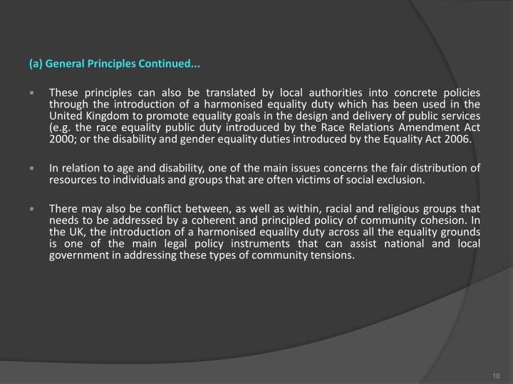 (a) General Principles Continued...