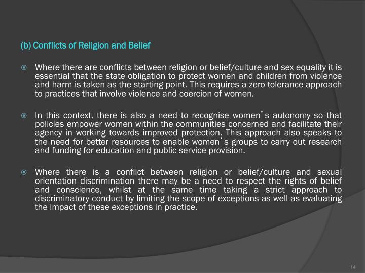 (b) Conflicts of Religion and Belief