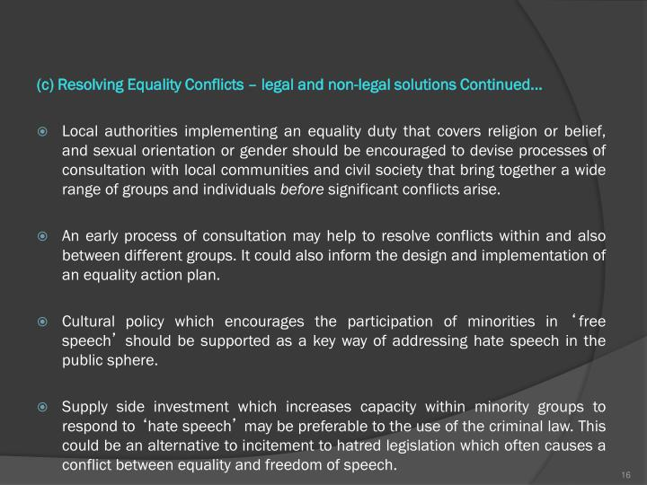 (c) Resolving Equality Conflicts – legal and non-legal solutions Continued...