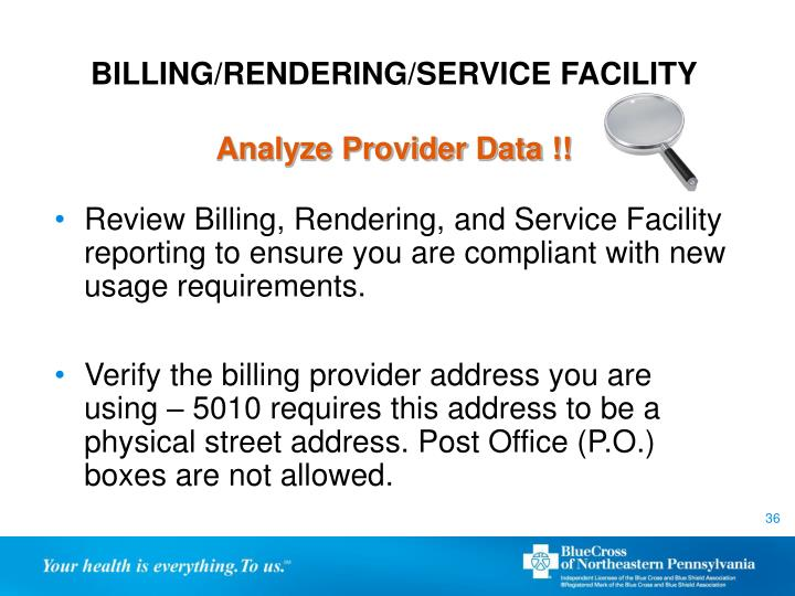 BILLING/RENDERING/SERVICE FACILITY