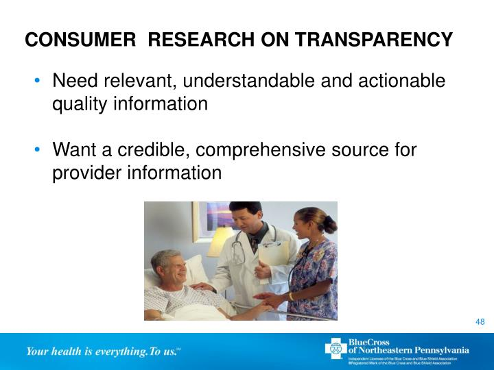 CONSUMER  RESEARCH ON TRANSPARENCY