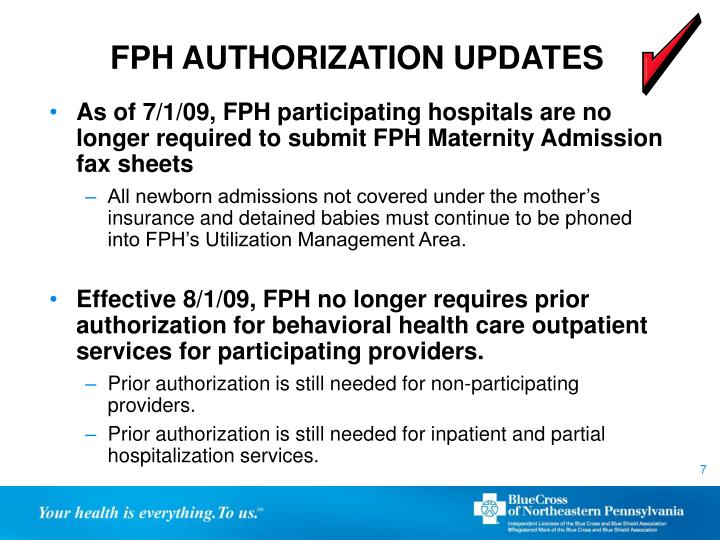 FPH AUTHORIZATION UPDATES