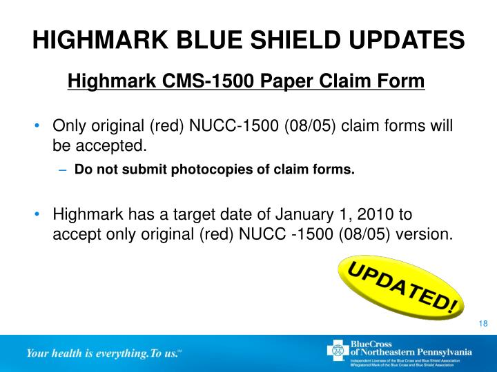 HIGHMARK BLUE SHIELD UPDATES