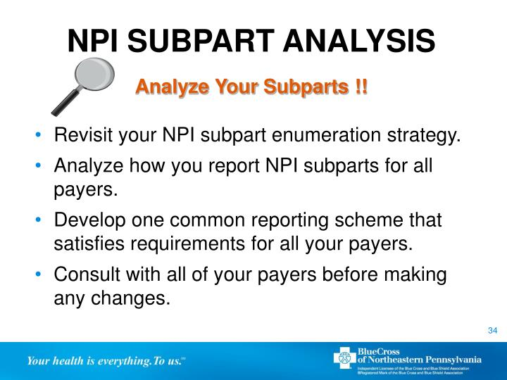 NPI SUBPART ANALYSIS