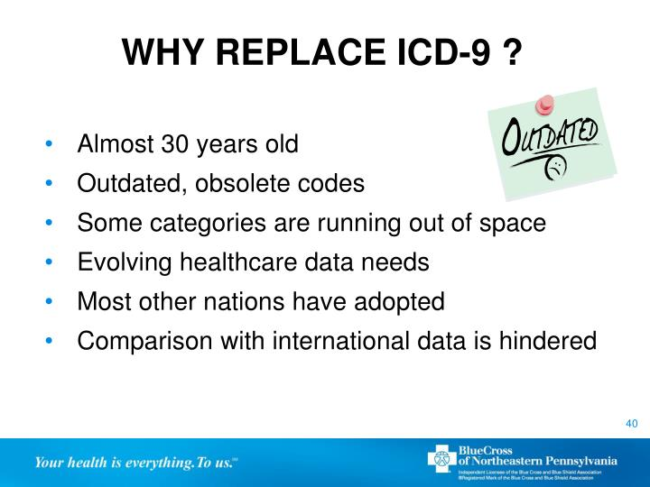 WHY REPLACE ICD-9 ?