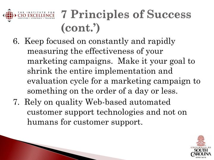 7 Principles of Success (cont.')