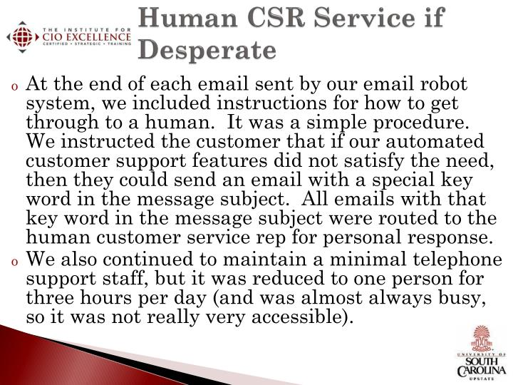 Human CSR Service if Desperate