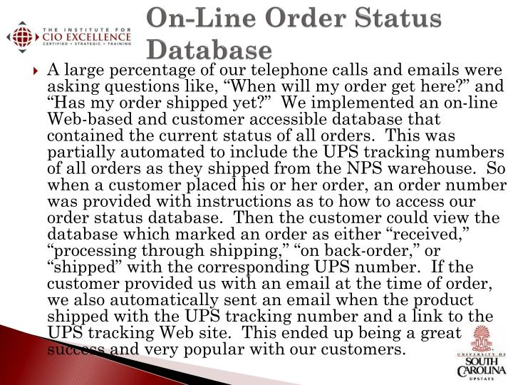 On-Line Order Status Database