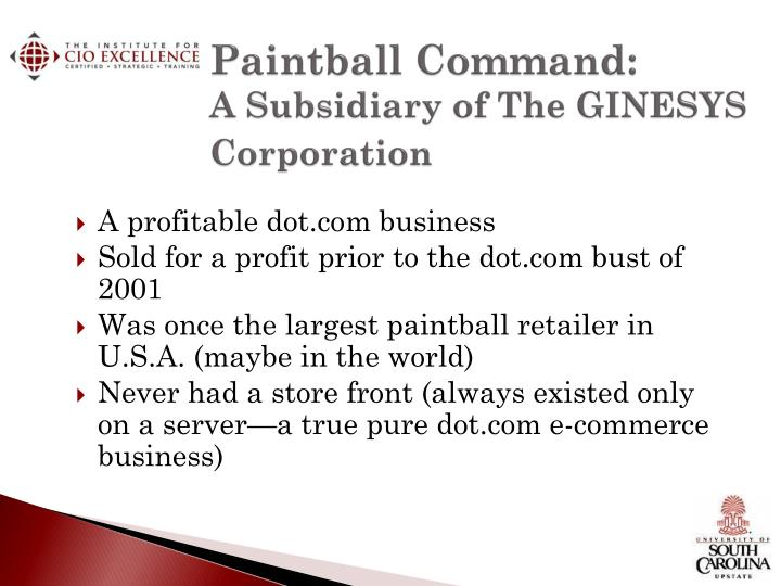 Paintball command a subsidiary of the ginesys corporation