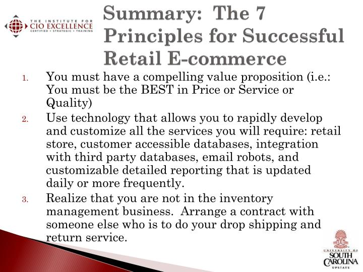 Summary:  The 7 Principles for Successful Retail E-commerce