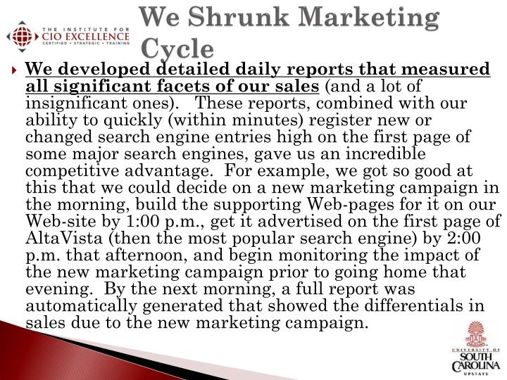 We Shrunk Marketing Cycle