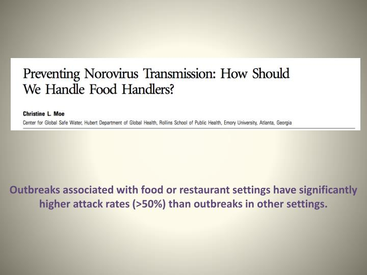 Outbreaks associated with food or restaurant settings have significantly