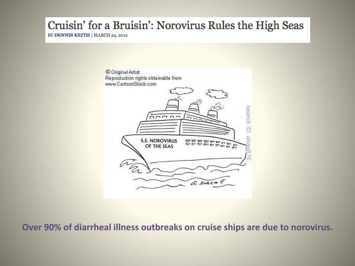 Over 90% of diarrheal illness outbreaks on cruise ships are due to