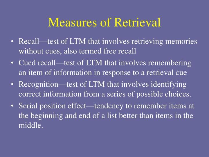 Measures of Retrieval