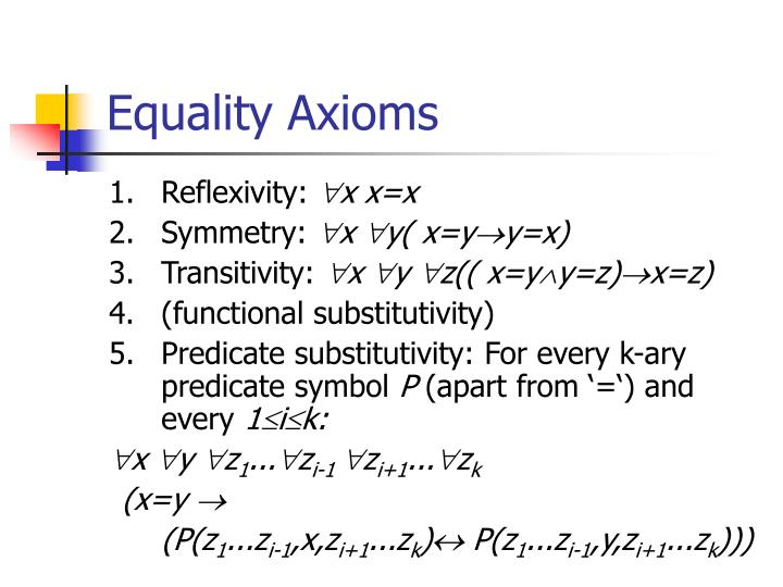 Equality Axioms