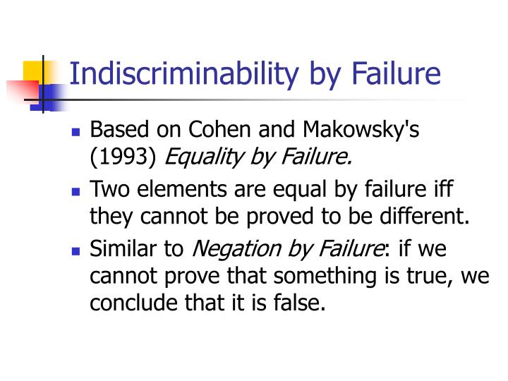 Indiscriminability by Failure