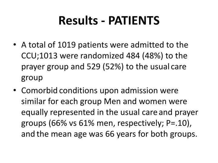 Results - PATIENTS