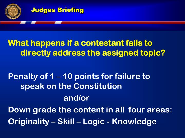 What happens if a contestant fails to directly address the assigned topic?