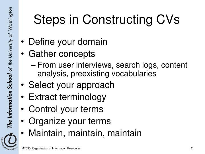 Steps in constructing cvs