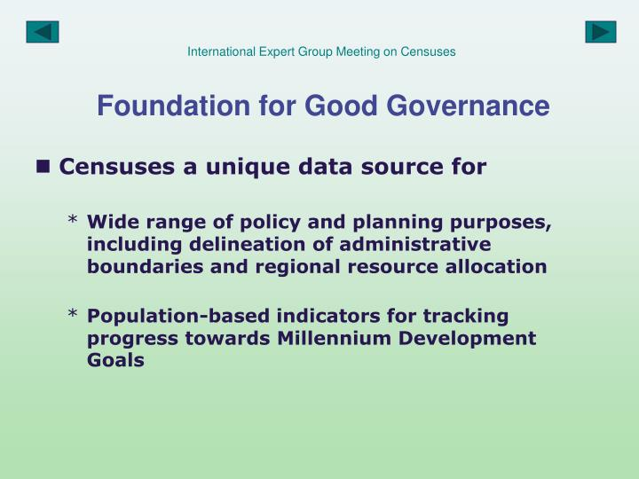 International expert group meeting on censuses foundation for good governance