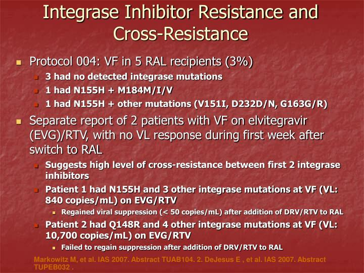 Integrase Inhibitor Resistance and Cross-Resistance