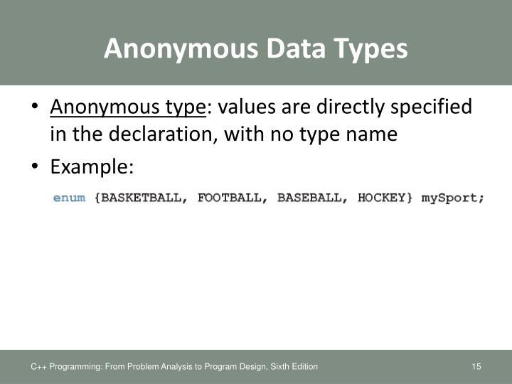 Anonymous Data Types