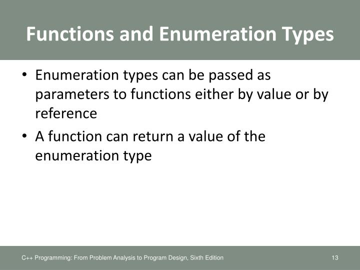 Functions and Enumeration Types