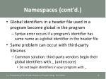 namespaces cont d