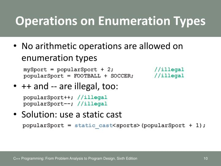 Operations on Enumeration Types