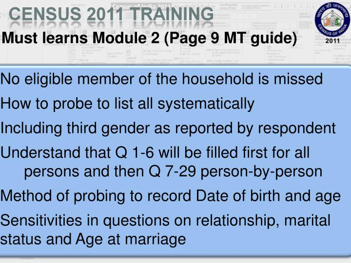 Must learns Module 2 (Page 9 MT guide)
