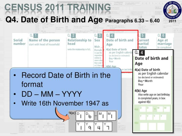 Q4. Date of Birth and Age