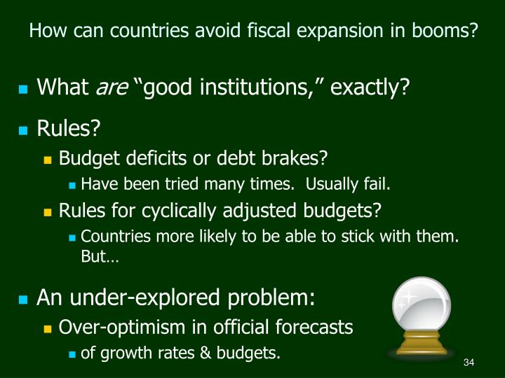 How can countries avoid fiscal expansion in booms?