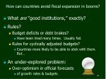 how can countries avoid fiscal expansion in booms