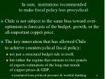 in sum institutions recommended to make fiscal policy less procyclical
