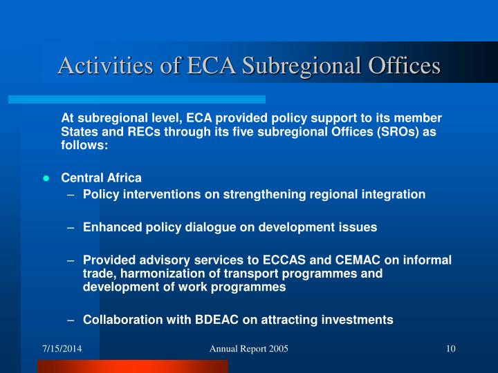 Activities of ECA Subregional Offices