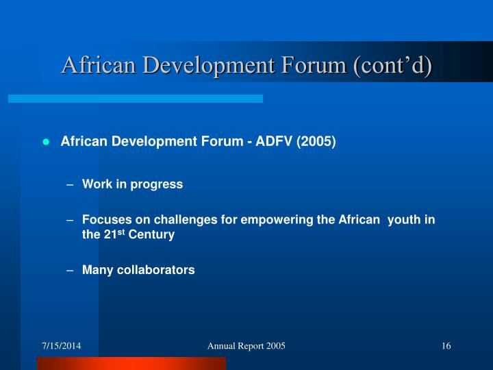 African Development Forum (cont'd)