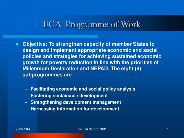 ECA  Programme of Work