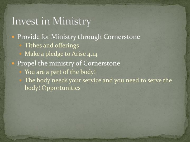 Invest in Ministry