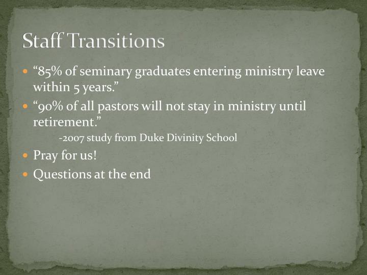 Staff Transitions