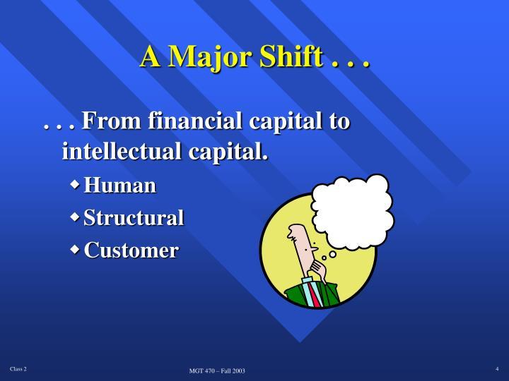 A Major Shift . . .