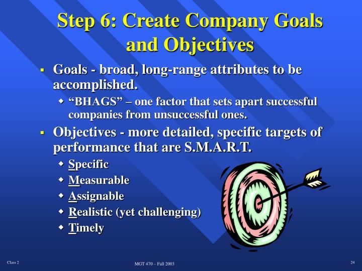 Step 6: Create Company Goals