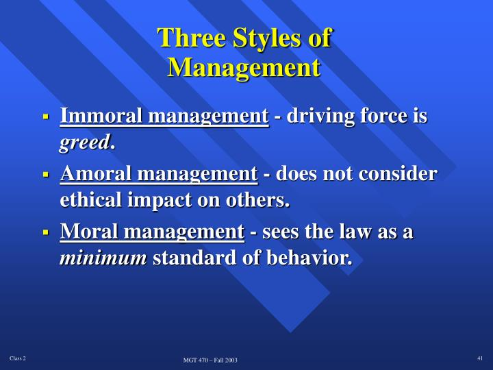 Three Styles of Management